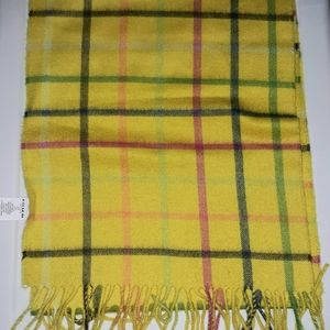 COACH YELLOW WOOL/CASHMERE BLEND PLAID SCARF